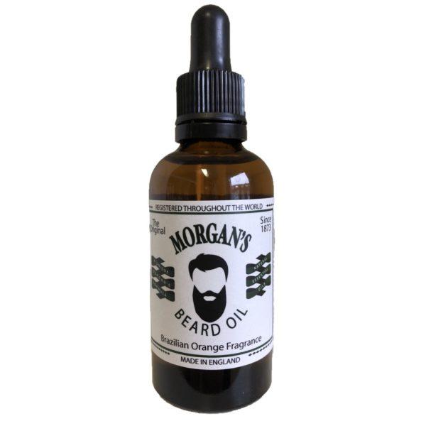 Morgan's Beard Oil Brazilian Orange 50 ml in bernsteinfarbener Flasche 100% ig natürliche Ölmischung, um Gesichtshaar und Haut aufzubauen. Enthält Mandelbaum-, Argan- und Kamelienöl.